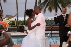 See more from this destination wedding: Real SoMd Wedding: A Romantic Evening in Paradise. Photo by Keith Cephus Photography.