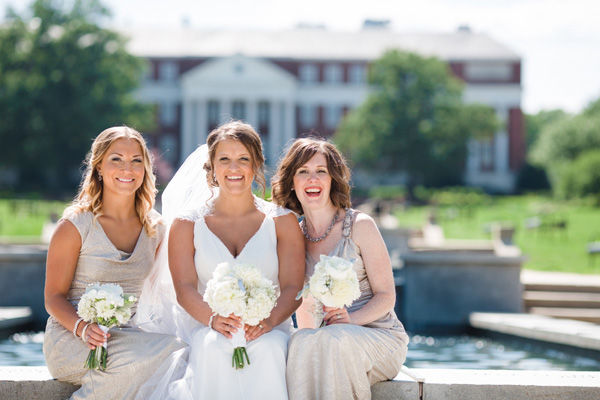 The bridesmaid on the left is wearing a cowl neckline. Real SoMd Wedding: UMD Lovebirds Tie the Knot