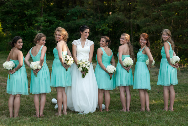 The bride's dress has a Queen Anne neckline. Real SoMd Wedding: Rustic, romantic, and handmade